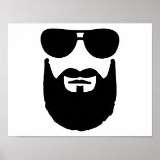 Full beard sunglasses print