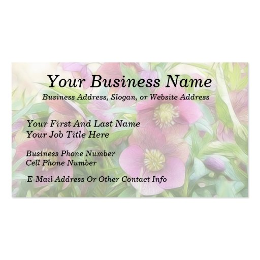 Full Bloom - Hellebores! Double-Sided Standard Business Cards (Pack Of 100)