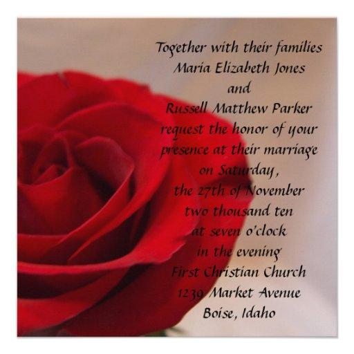 Full Bloom Red Rose Wedding Custom Announcement