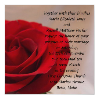 Full Bloom Red Rose Wedding 5.25x5.25 Square Paper Invitation Card