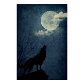 Full Blue Moon Howling Wolf Silhouette Poster