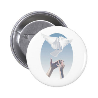 Full Color Dove and Hands Image Pinback Button