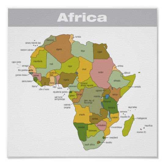Full Color Map Of Africa Poster