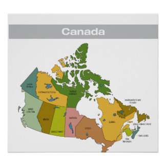 Full Color Map of Canada Poster