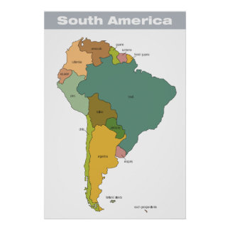 Full Color Map of South America Poster