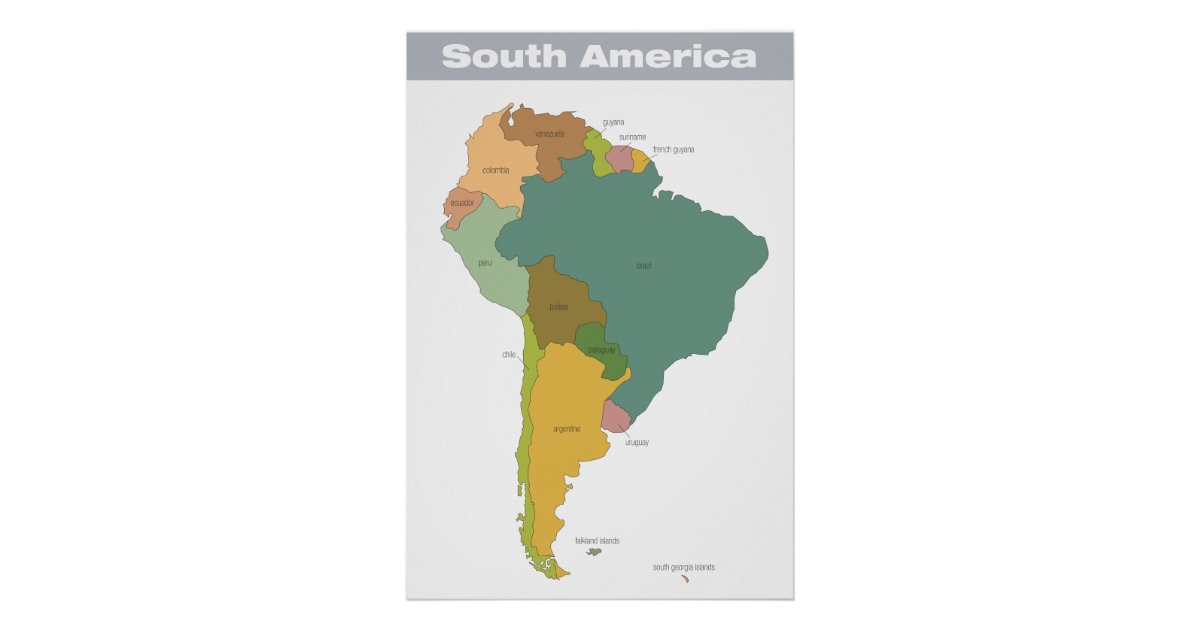 Full color map of south america poster zazzle for What color is south america