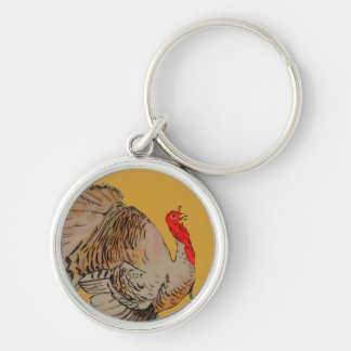 Full Color Thanksgiving Turkey Silver-Colored Round Keychain