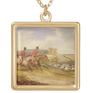 Full Cry, Bachelor's Hall, 1835 (oil on canvas) Gold Plated Necklace
