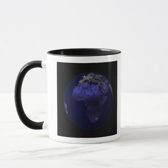 Full Earth at night showing Africa and Europe Mug