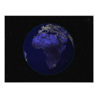 Full Earth at night showing Africa and Europe Photo Print