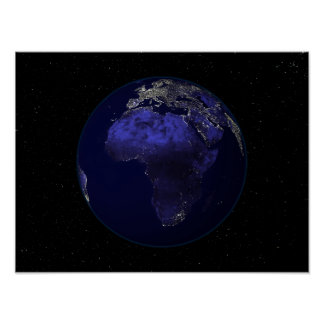 Full Earth at night showing Africa and Europe Poster