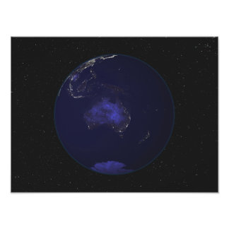 Full Earth at night showing city lights 2 Photo Print