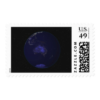 Full Earth at night showing city lights 2 Postage