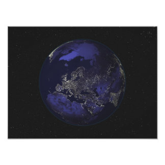 Full Earth at night showing city lights 3 Photo Print