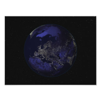 Full Earth at night showing city lights 3 Poster