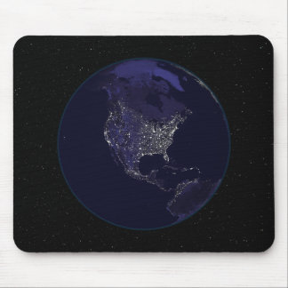 Full Earth at night showing city lights 4 Mouse Pad