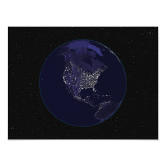 Full Earth at night showing city lights 4 Photo Print