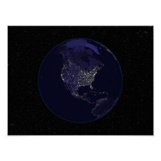 Full Earth at night showing city lights 4 Poster