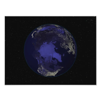 Full Earth at night showing city lights 5 Photo Print