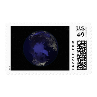 Full Earth at night showing city lights 5 Postage Stamps
