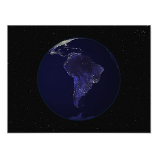 Full Earth at night showing city lights 6 Photo Print