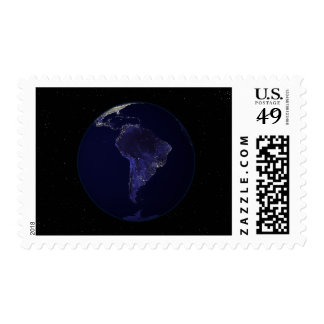 Full Earth at night showing city lights 6 Postage Stamps