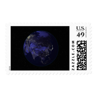 Full Earth at night showing city lights Stamps