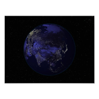 Full Earth at night showing city lights Poster