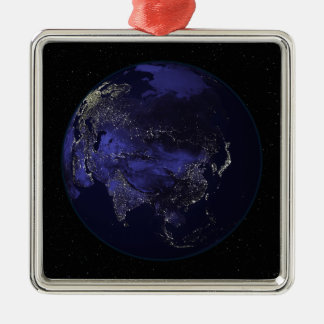 Full Earth at night showing city lights Square Metal Christmas Ornament