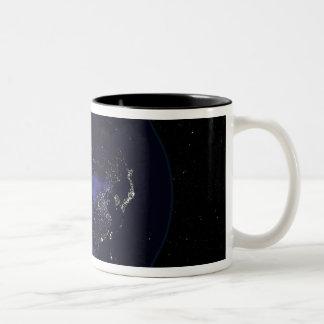 Full Earth at night showing city lights Two-Tone Coffee Mug