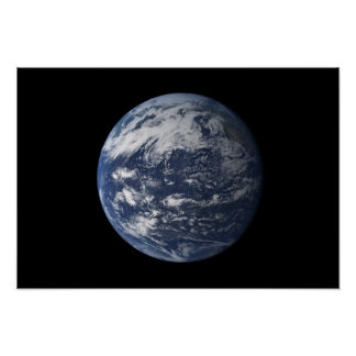 Full Earth centered over the Pacific Ocean Print