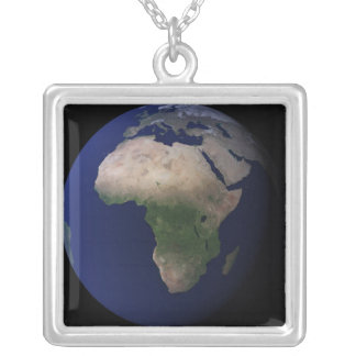 Full Earth showing Africa, Europe, &  Middle Ea Silver Plated Necklace