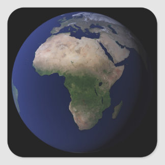 Full Earth showing Africa, Europe, &  Middle Ea Square Sticker
