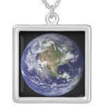 Full Earth showing North America 4 Silver Plated Necklace