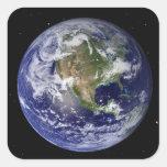 Full Earth showing North America 4 Square Sticker