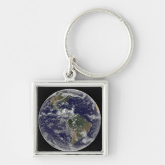 Full Earth showing North America and South Amer 3 Keychain