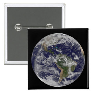 Full Earth showing North America and South Amer 4 Button