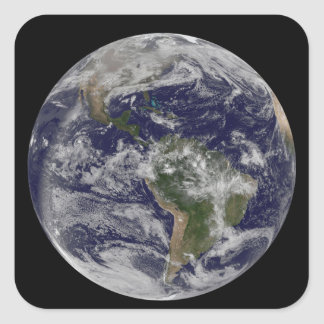 Full Earth showing North America and South Amer 4 Square Sticker