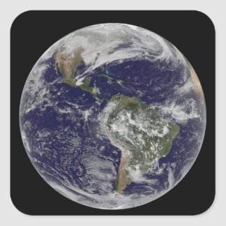 Full Earth showing North America and South Amer 6 Square Sticker