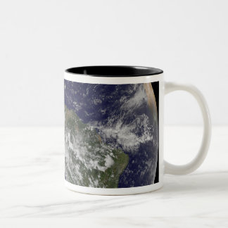 Full Earth showing North America and South Amer 6 Two-Tone Coffee Mug