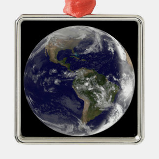 Full Earth showing North America and South Amer 7 Metal Ornament