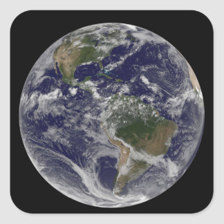 Full Earth showing North America and South Amer Square Sticker