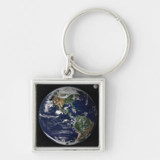 Full Earth showing North and South America Keychain