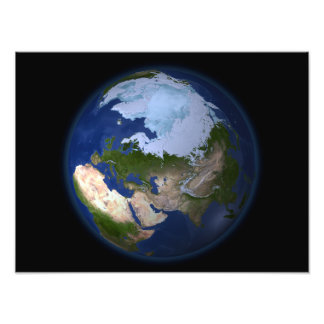Full Earth showing the Arctic region Photo