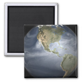 Full Earth view showing water vapor 2 Inch Square Magnet