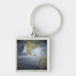 Full Earth view showing water vapor Key Chain