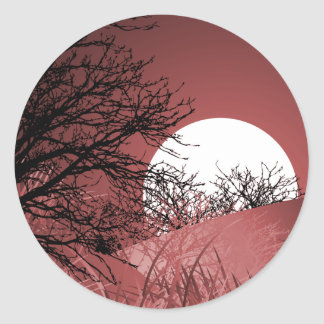 FULL FIELD MOON - RED CLASSIC ROUND STICKER