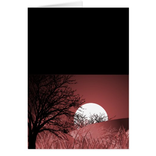 FULL FIELD MOON - RED GREETING CARD