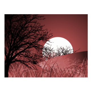 FULL FIELD MOON - RED POSTCARD