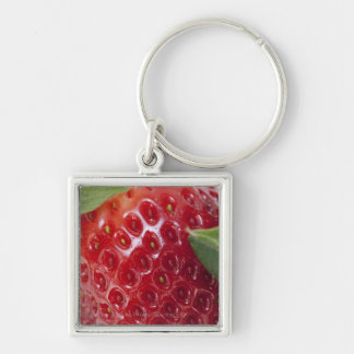 Full frame close-up of a Strawberry Silver-Colored Square Keychain